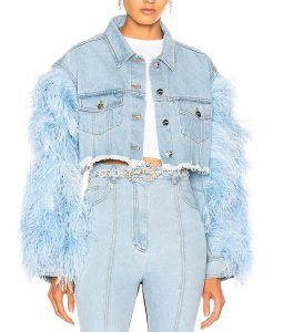 Dynasty Vanessa Feather Sleeve Denim Cropped Jacket