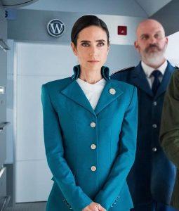Melanie Cavill Snowpiercer Blue Coat