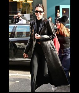 Kendall Jenner Black Leather Trench Coat