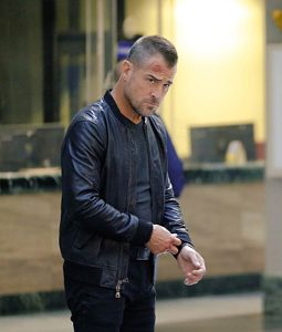 MacGyver George Eads Black Leather Bomber Jacket