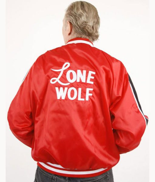 1950s Lenny Red Lone Wolf Bomber Jacket