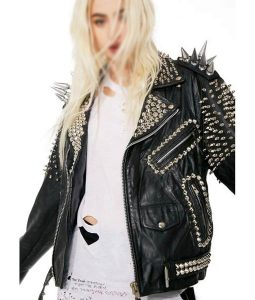 Black Vintage Studs and Spike Leather Motorcycle Jacket