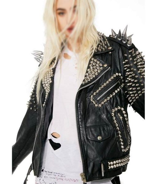Black Vintage Studs and Spike Motorcycle Leather Jacket
