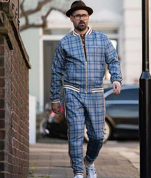 Colin Farrell Blue Checkered The Gentleman Coach Tracksuit