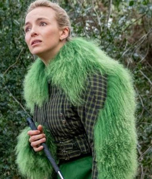 Killing Eve S03 Villanelle Checkered Green Fur Cropped Jacket