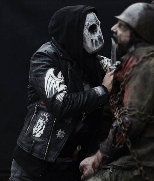 Kiowa Gordon Blood Quantum Motorcycle Leather Jacket With Patches