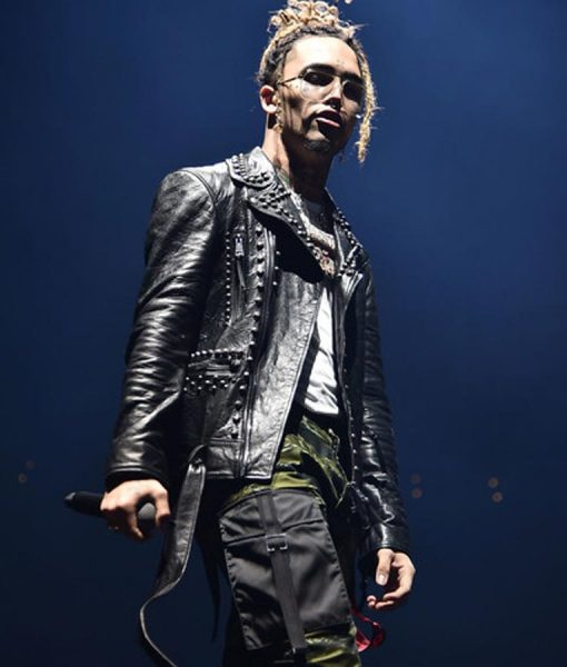 Lil Pump Black Studded Leather Jacket