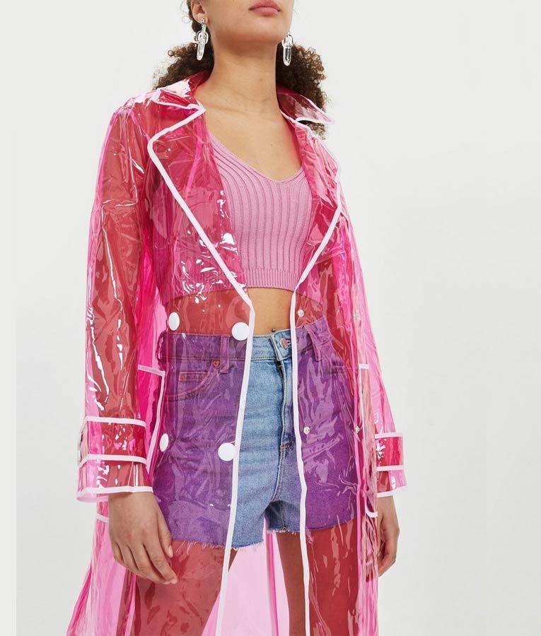 Murphy Mason In The Dark Raincoat, Pink Plastic Trench Coat