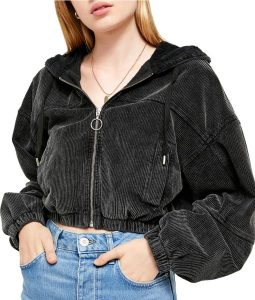 Never Have I Ever Devi Corduroy Crop Hooded Jacket