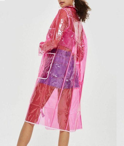 Perry Mattfeld Pink Transparent In The Dark Raincoat