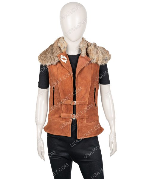 Zombies 2 Ariel Martin Brown Leather Vest With Fu
