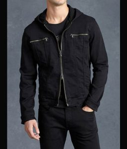 Clay Jensen 13 Reasons Why Black Hooded Denim Jacket