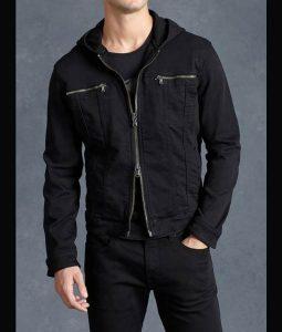 Clay Jensen 13 Reasons Why Black Hooded Denim Jacket