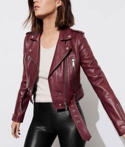 13 Reasons Why S04 Jessica Davis Maroon Leather Cropped Jacket