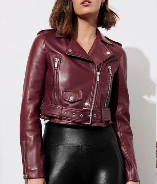 13 Reasons Why S04 Jessica Davis Maroon Cropped Biker Jacket