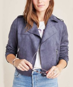 13 Reasons Why S04 Jessica Davis Grey Suede Leather Moto Jacket