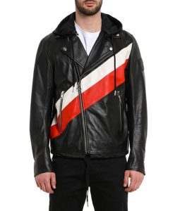 13 Reasons Why S04 Ross Butler Striped Leather Biker Jacket