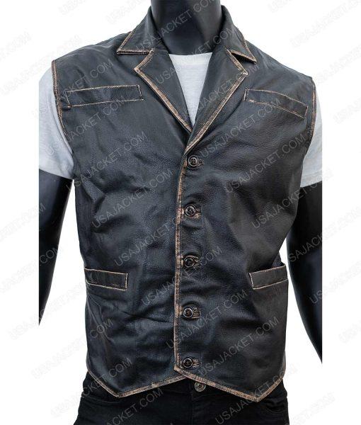 Clearance Sale Men's Black Wax XL Size Leather Vest