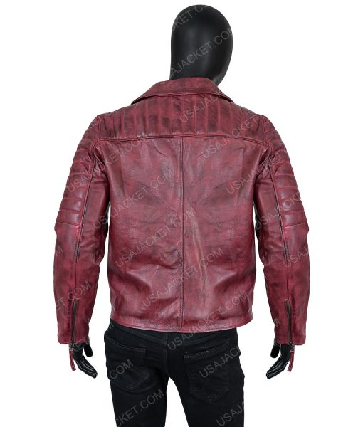 Clearance Sale Men's Maroon Distressed Leather Moto Small Size Jacket