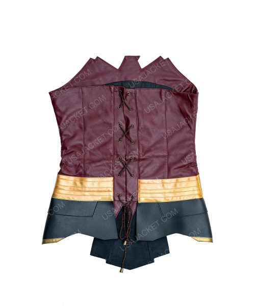 Clearance Sale Wonder Woman Maroon and Golden Leather (XS) Corset