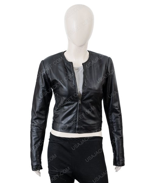 Clearance Sale Women's Black Leather Medium Size Cropped Jacket