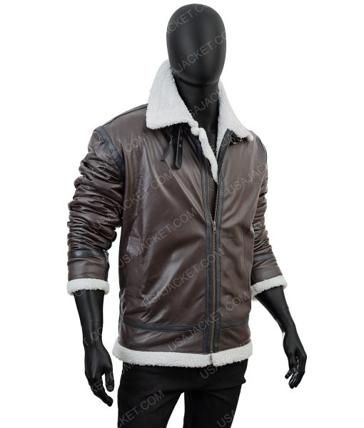 Clearance Sale Men's B3 Brown Leather Jacket
