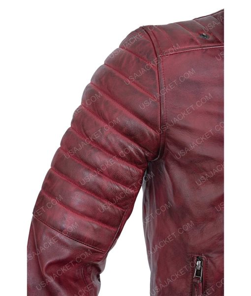 Clearance Sale Maroon Distressed Leather Biker Small Size Jacket