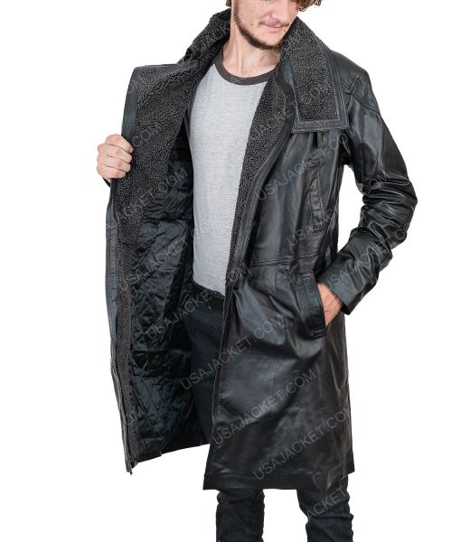 Clearance Sale Men's Leather Medium Black Coat