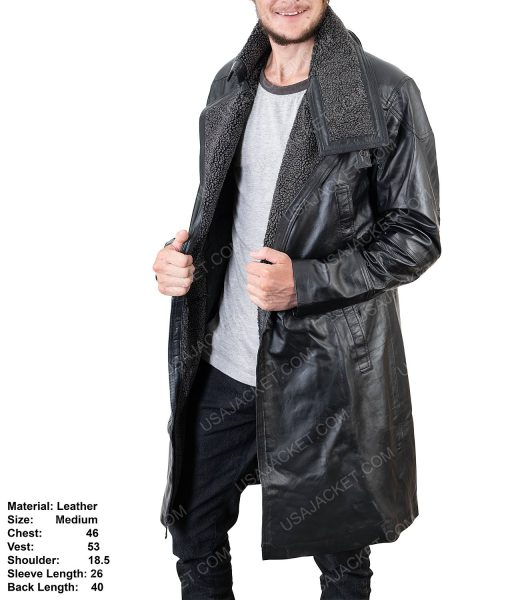 Clearance Sale Men's Black Leather Medium Coat