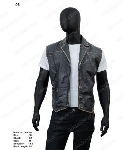 Clearance Sale Black Wax XL Size Men's Black Leather Vest