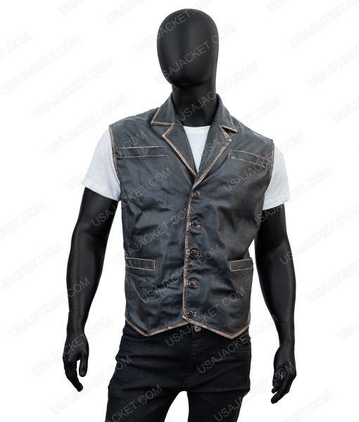 Clearance Sale Men's Black Wax Leather Vest