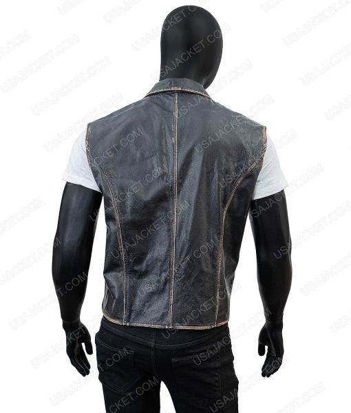 Clearance Sale Men's Black Wax XL Size Black Leather Vest