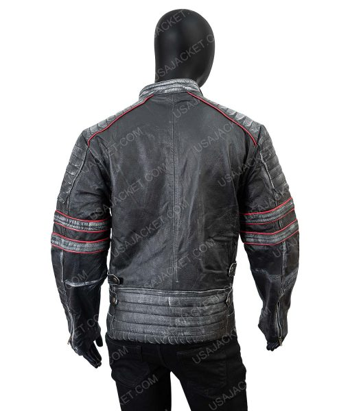 Clearance Sale Men's Distressed Black Leather Retro Jacket XL Size