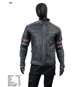 Clearance Sale Men's Distressed Black Leather Retro Style XL Size Jacket