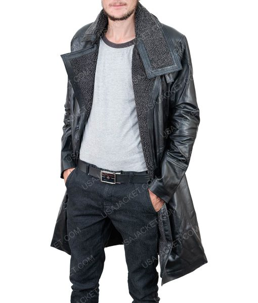 Clearance Sale Men's Black Leather Size Coat