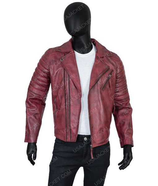 Clearance Sale Men's Biker Style Maroon Distressed Leather Small Size Jacket