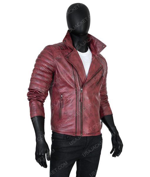 Clearance Sale Men's Maroon Distressed Leather Biker Jacket