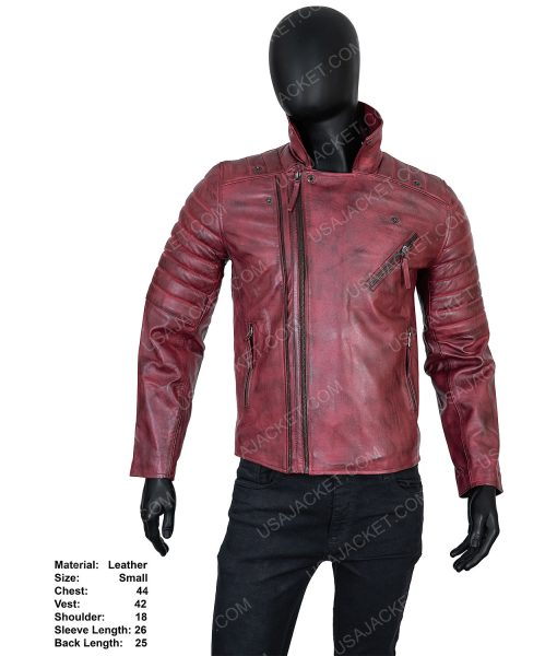 Clearance Sale Men's Maroon Distressed Leather Biker Style Small Size Jacket