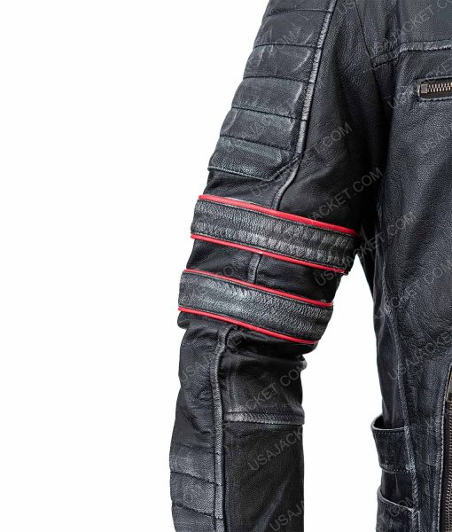Clearance Sale Men's Distressed Black Leather Retro XL Size Jacket
