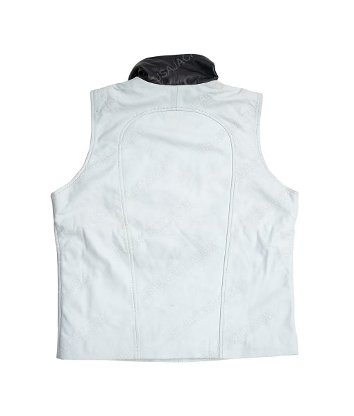 Clearance Sale Men's White Leather Small Size Vest