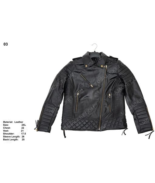 Clearance Sale Women's Black Leather Biker (2XL) Jacket