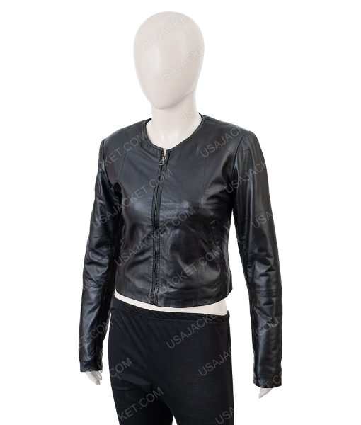 Clearance Sale Women's Cropped Medium Size Black Leather Jacket