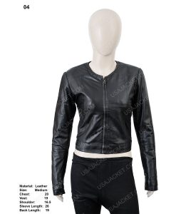 Clearance Sale Women's Black Leather Cropped Medium Size Jacket