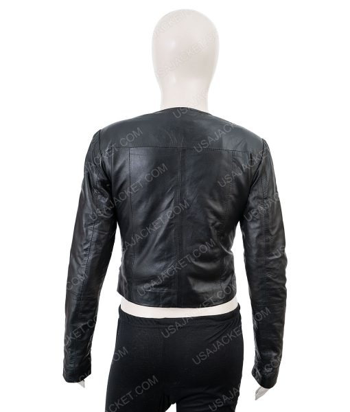 Clearance Sale Medium Size Women's Black Leather Cropped Jacket