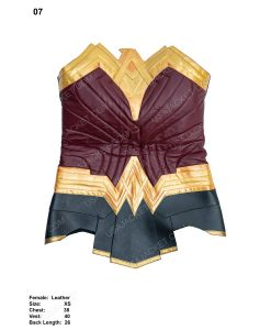 Clearance Sale Maroon and Golden Wonder Woman Leather (XS) Corset