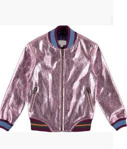 Cameron Wrather Coop and Cami Ask The World Pink Metallic Bomber Jacket