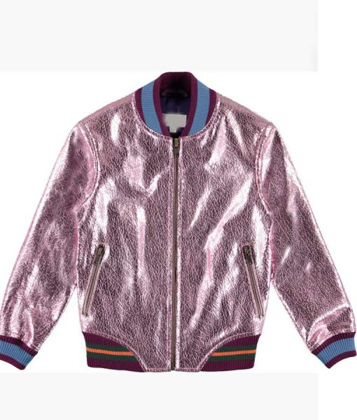 Coop and Cami Ask The World Cameron Wrather Pink Metallic Bomber Jacket
