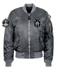 Crown Of Sorrow Raid Grey Satin Bomber Jacket