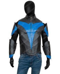 Blue and Black Leather Dick Grayson Titans Nightwing Jacket