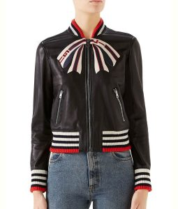 Real Housewives of New York City Leather Bow Print Jacket